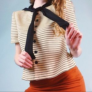 Vintage 90s Striped Short Sleeve Blouse